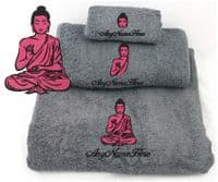 Buddha Design  Grey Towel/s.  Choice of Bale Size or Available as single Towel.